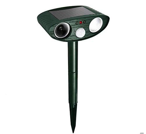 Ahuyentador de animales por ultrasonido con sensor de movimiento y luz intermitente, resistente al agua, para jardín, yard, gatos, perros, zorros, pájaros, skunks, rocas, chichmunk, ciervos (v