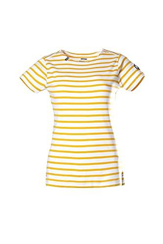 Voile Bleue Copa | Camiseta de mujer de cuello redondo con rayas de manga corta / manga larga con cuello redondo a rayas de algodón, Blanco/Honey, S