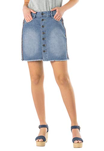 Urban Surface Damen Jeans-Rock mit Rips-Band & Knopfleiste Blue M