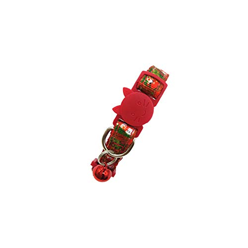 DIKOPRO Halloween Printed Cat Collar Ghost Festival Cat Bell Collar Pet Collar,Adjustable Cat and Dog Pendant Safety Collar Pet Tie,uitable for Cats/Kittens and Puppy Collars(Red Christmas)