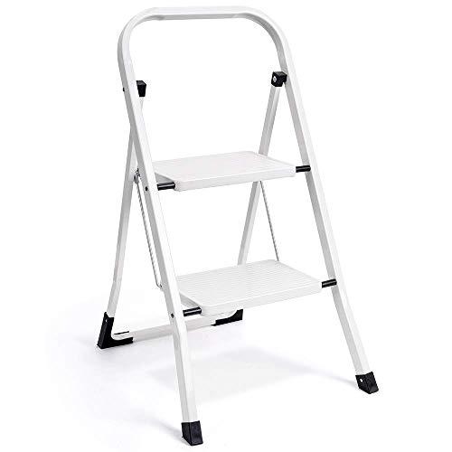 HOUSE DAY Escalera plegable escalera con mango antideslizante y pedal ancho multiusos para el hogar y la oficina, taburete portátil de acero 300 libras blanco (2 pasos)