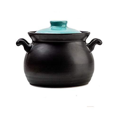 GLF Olla de Cocina Saludable Cazuela de 3,2 l con Tapa, Resistente a Altas temperaturas, Olla de Piedra de Gran Capacidad, Adecuada para Estufa de cer