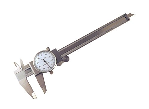 """6"""" SAE Dial Calipers Accurate to 0.001"""" per 6"""" Hardened Stainless Steel for Inside, Outside, Step and Depth Measurements SAEDC-6"""