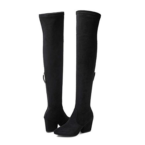 Women Boots Over Knee Long Fashion Heels Autumn Quality Suede Comfort Square Heels 9 Black