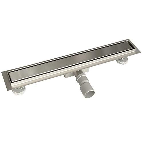 Acezanble - Canaleta de ducha de acero inoxidable sifón de desagüe para cuarto de baño rectangular 2 en 1 para azulejo 60 cm
