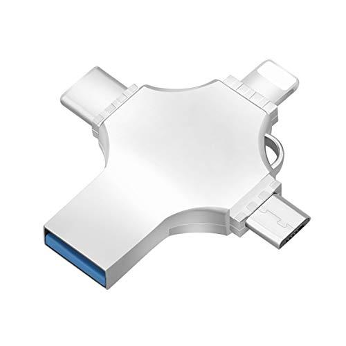 Unidad flash USB compatible con iPhone/iPad, 4 en 1 OTG Memory Stick (USB 3.0/Tipo-C/Micro USB), unidad de pulgar de almacenamiento externo para Android/PC/Mac (256GB)