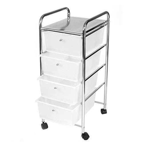 Rollbares Badregal Küchenregal Badtrolley Rollwagen Schubladenwagen Rollcontainer aus Metall Chrom - mit 4 Schubkästen Schubladen aus Kunststoff