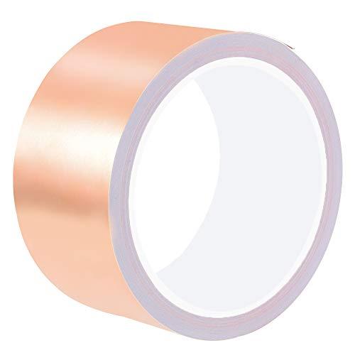 Kupferfolienband, Kupferband mit Leitkleber für EMI-Abschirmung, Papierkreisläufe, Bastelarbeiten, elektrische Reparaturen - 50 mm breit x 10 m lang
