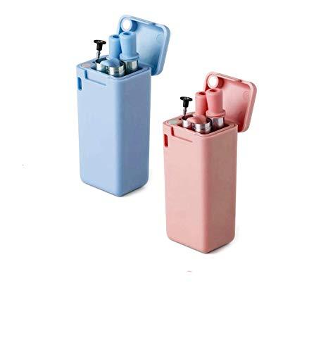 OARCO 2er-Pack Faltbare Trinkhalme Edelstahl Strohhalme, Zusammenklappbar Wiederverwendbar, mit Reinigungsbürste und Stabiler Tragetasche, für Geschenkidee, Reisen, Party, Outdoor, Fitness(Blau&Rosa)