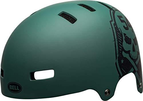Bell Unisex– Erwachsene Local Fahrradhelm BMX/Skate, Matte Green/Black Scull, S | 51-55cm
