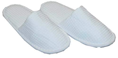 hochwertige Frottee Slipper weiss mit geschlossenen Zehen, Classic Terry Slipper / Schuhe / Hausschuhe / Pantoletten / Hotelslipper / Badeschuhe, Gr. 42 - 46