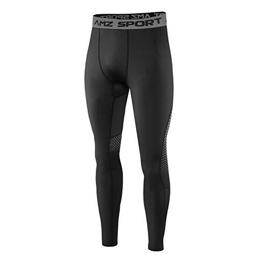 AMZSPORT Calzamaglia per Compressione Sportiva da Uomo Asciugatura Veloce Leggings di Baselayer Pantaloni da Allenamento Pro - Nero L