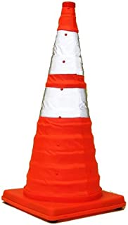 Eurow Reflective Safety Cone with Nighttime LED Lights Multipurpose Traffic Sports Extendable Collapsible Easy Storage, 28 Inch