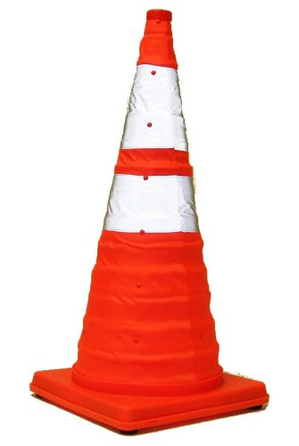 Eurow Reflective Safety Cone with Nighttime LED Lights Multipurpose Traffic Sports Extendable Collapsible 28 Inches