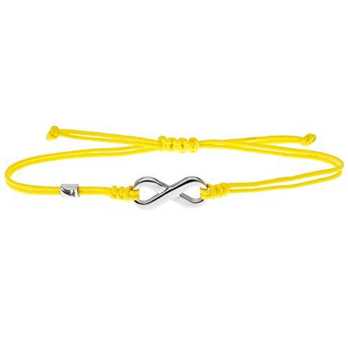 Wind Passion Pulsera de Cuerda Amarilla Kabbalah con Colgante Símbolo Infinito, Brazalete Trenzada Cordón Ajustable para Mujer, Hombre, Niños