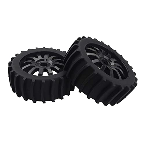 LIZONGFQ RC Buggy Rubber Tire RC 1: 8 Juego de neumáticos de llanta de Rueda de Coche Adecuado para Muchos Coches RC - Naranja, como se Describe ( Color : Black , Size : As described )