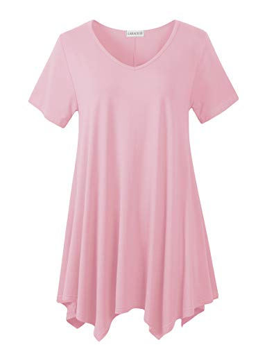 LARACE Womens V Neck T Shirts Casual Loose Fit Short Sleeve Tunic Plus Size Tops for Leggings(Pink 4X)