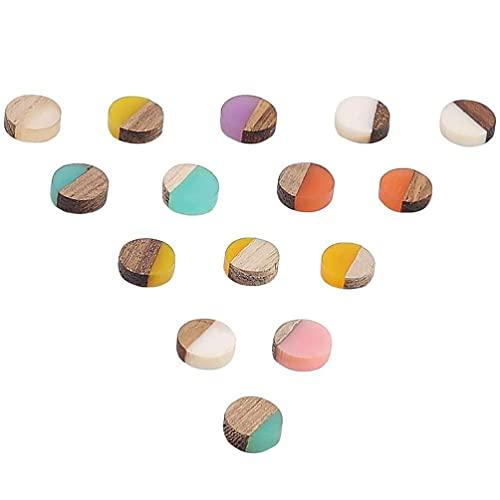 50 piezas de resina de madera en blanco redondo de mezcla de color geométrico cabujones de madera vintage pendientes joyas