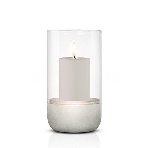 blomus -CALMA- Windlicht L in exklusiver Optik, puristischer Beton-Sockel, trendiger Kerzenhalter mit Kerze, garantierte Standfestigkeit, hochwertig (H / B / T: 22,5 x 15 x 15 cm, Grau, 65448)