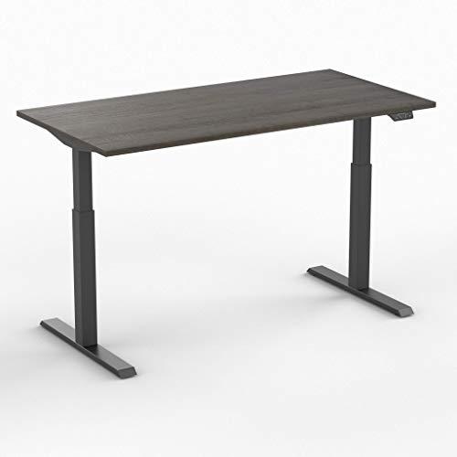 Worktrainer Elektrischer Sitz-Steh-Schreibtisch Steelforce 370 (Schwarz/Eiche Braun 180 x 80cm)