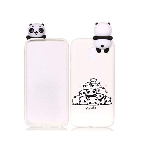 HongYong Cute 3D Panda Case for Samsung Galaxy J3 (2017),Ultra Slim Fit Soft Silicone Gel Bumper Shockproof Protective Cartoon Phone Case with Lovely Animal Pattern for Samsung Galaxy J330,White