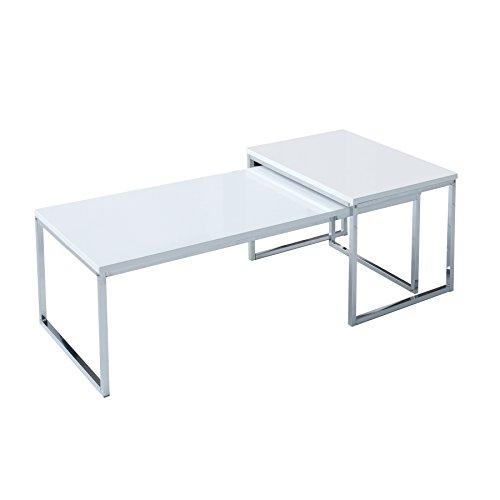 Invicta Interior 2er Set Couchtisch Elements 100cm Hochglanz weiß Chrom Tischset Satztische Beistelltische Tische Wohnzimmer