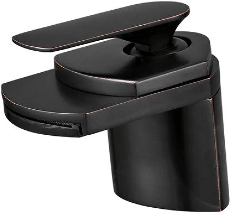 Waterfall-Style Wash Basin Faucet Hot and Cold Bathroom Above Counter Basin Bathroom Counter Basin Black Basin Faucet