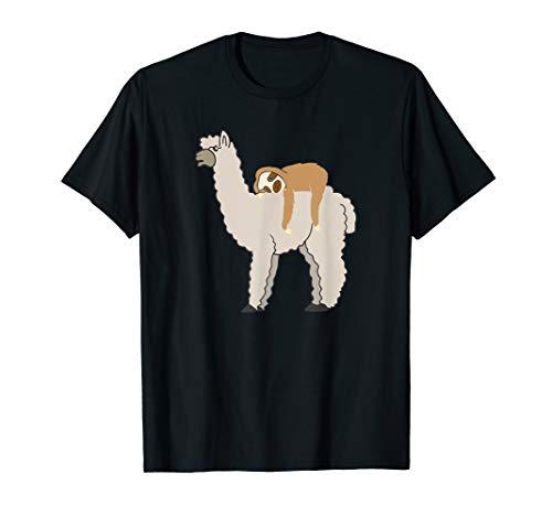 Cute & Funny Sloth Riding Llama T-Shirt