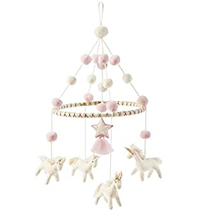 Mud Pie Nursery Baby Crib Mobile, Unicorn, Pink, One Size