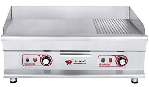 Beeketal 'BGP-7' Profi Gastro Grillplatte elektrisch mit 1/3 gerillter und 2/3 glatter Grillfläche (74,5 x 42 cm) aus 12 mm dickem Gusseisen, 2 Zonen stufenlos regelbar je 50-300 °C (2 x 3200 Watt)