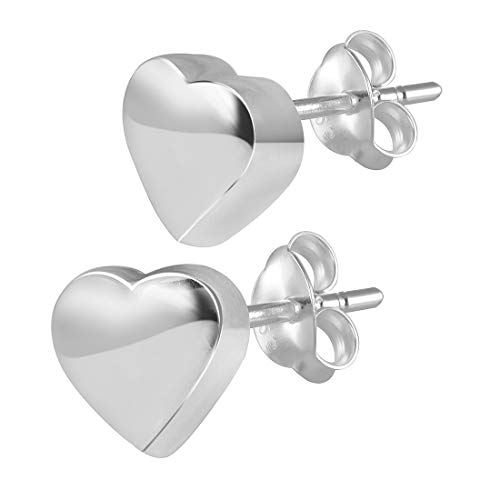 Materia – #SO-227 925 pendientes de plata con forma de corazón - Pendientes pequeños para niños con joyero