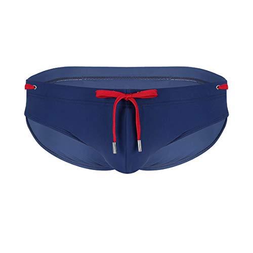 iiniim Bañador Slip de Natación Hombres Pantalones de Baño Clásico Cordón con Relleno Push Up Sexy Bikini Briefs Bulge Bolsa Traje de Baño para Adultos Acolchado Extraíble Azul marino X-Large
