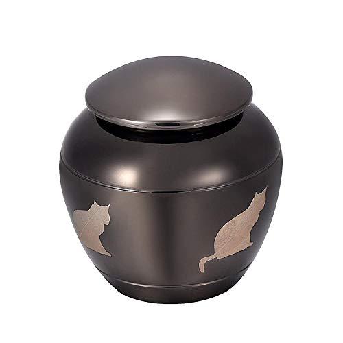 UGBJ Pet Funeral Cremation Urn Sehr geehrte Haustier-Denkmäler Katzen-Urne für Asche Edelstahl Mini-Andenken-Urne für die verbleibende Asche meiner Katze