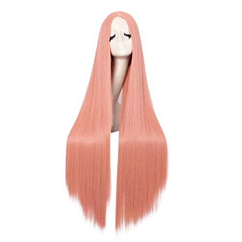 MapofBeauty 40 Pulgadas/100cm Moda Recta Larga Disfraz Anime Cosplay Peluca (Naranja Polvo)