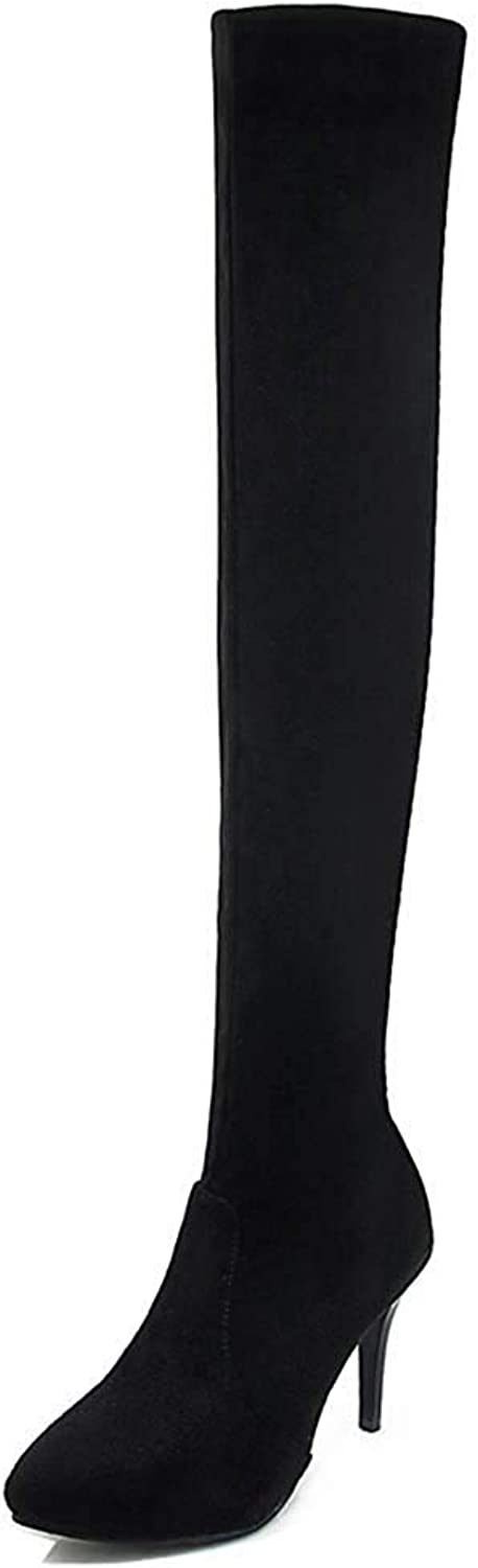Women's Sexy Faux Suede Inside Zip Up Slim Pointed Toe Stiletto High Heel Dress Over The Knee Boots