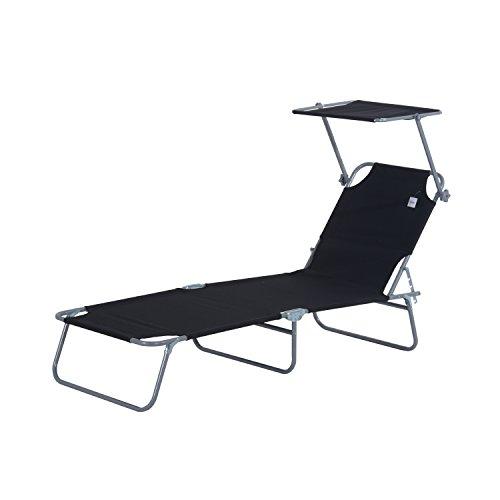 Outsunny Sonnenliege Gartenliege Wellnessliege Strandliege klappbar mit Sonnenschutz (Schwarz)