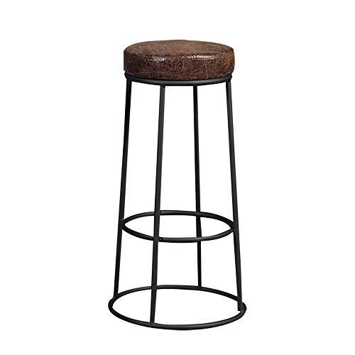 YZT QUEEN Barkruk, Amerikaanse minimalistische smeedijzeren barstoel, vintage industriële stijl bistro kinderstoel, lederen kussen, geschikt voor gezinnen, restaurants, coffeeshops en bars
