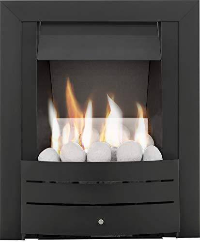 Adam Hera Slimline Gas Fire in Black with Pebble Bed
