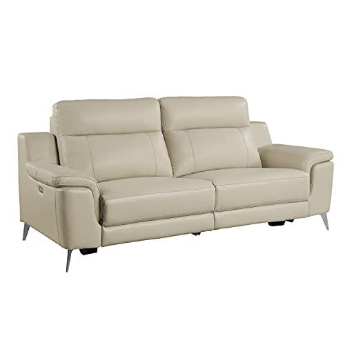 Lexicon Ezra Leather Power Reclining Sofa, Beige
