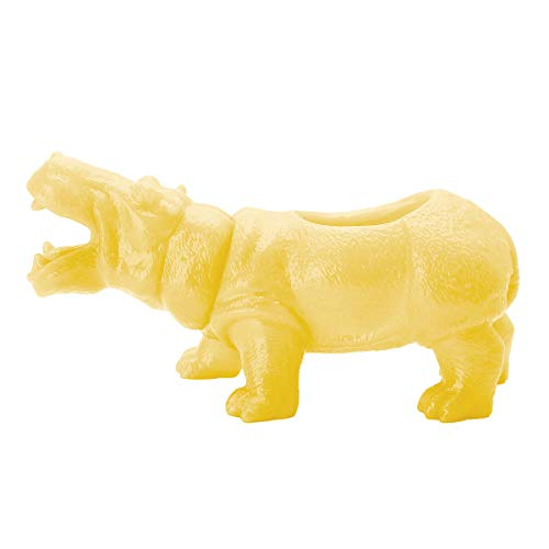 CHICTRY Dinosaur Succulent Plant Vase Creative Flower Pot Bonsai Container Gardening Planter with Drain Hole for Home Office Desktop Decoration Yellow Hippo