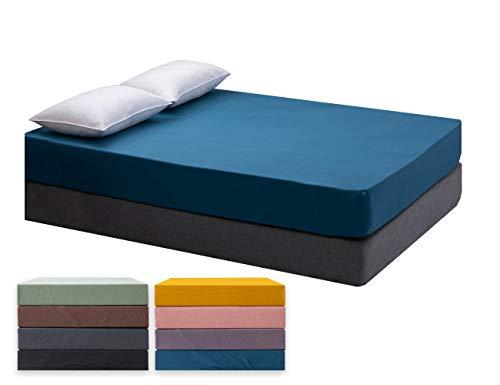 Spannbettlaken, Jersey-Stretch Spannbetttuch 100% Baumwolle Bettlaken Gekämmte Baumwolle ÖKO-TEX Standard 100 (Meer Blau, 180x200-200x200cm)