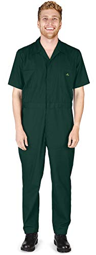 NATURAL WORKWEAR - Mens Tall Regular and Big Sizes Short Sleeve Coverall, Green 40590-SmallTall