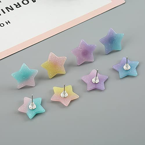 VasyShop 1pair 1919 M Very Glitter Gradient Resin Star Stud Earrings For Girls Teens Jewelry-27452