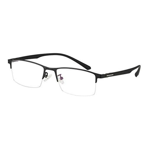 YAO YU Gafas de Lectura Fotocrómica, Halfas de Metal Y Lentes de Resina Gafas de Sol Polarizadas, Gafas Anti-Uv Antideslizantes para Hombres/Mujeres/Negro/75