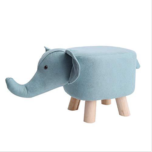 Tierhocker Für Kinder Elefant Massivholz Kreativer Hocker Für Familien Kinderzimmer Wohnzimmer Schlafzimmer, Blau