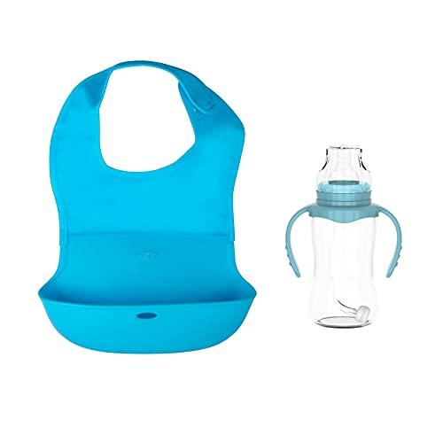 Babero Silicona para Bebé + Biberón de Plástico de Regalo - Babero Impermeable con Cuello de Tela Extra Suave - Babero Blw Fácil de Guardar