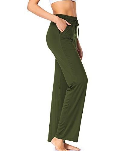 Womens Yoga Pants with Pockets Straight-Leg Loose Comfy Modal Drawstring Lounge Running Long Active Casual Sweatpants,ArmyGreen Large