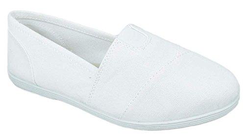 Soda Flat Women Shoes Linen Canvas Slip On Loafers Memory Foam Gel Insoles OBJI-S White 6.5