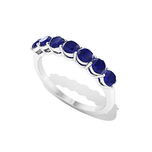 Anillo de aniversario de zafiro azul de 1,05 quilates, certificado SGL, anillo de boda con piedras preciosas azules, anillo de eternidad de siete piedras, 14K Oro blanco, Size:EU 70