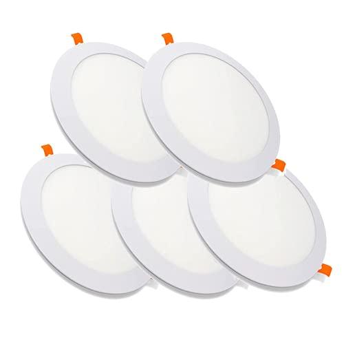 MUNDDY Pack DE 5 Downlight LED Panel Empotrable Redondo, iluminacion 9W, 4000k Blanco Neutro, Marco Blanco. [Clase de eficiencia energética A++] de Led